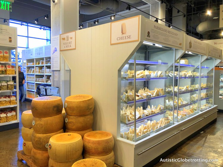 Exploring Eataly in Los Angeles with Autism dry cheese wheels