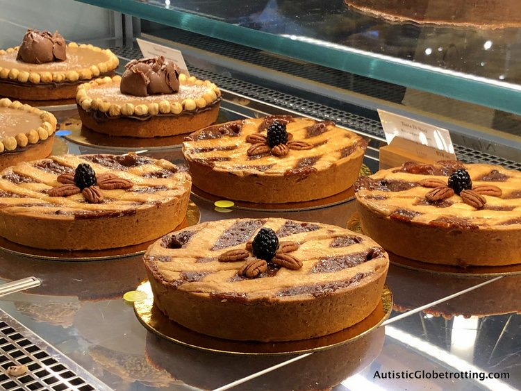 Exploring Eataly in Los Angeles with Autism dry cakes on display