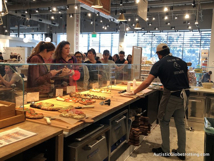 Exploring Eataly in Los Angeles with Autism roman pizza