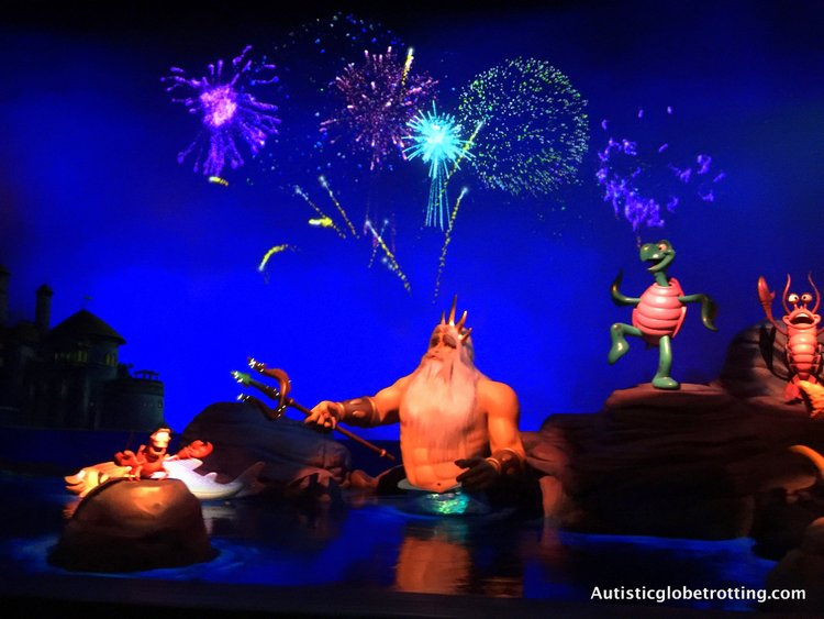 Disneyland's Top Indoor Autism Friendly Rides and Attractions king triton on the little mermaid ride