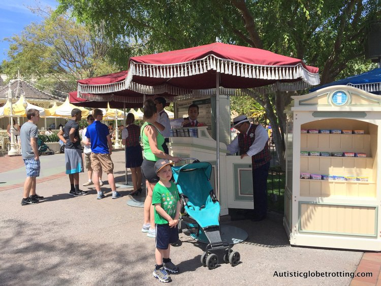 Eight Best Disneyland Thrill Rides for Kids with Autism disability kiosks in park