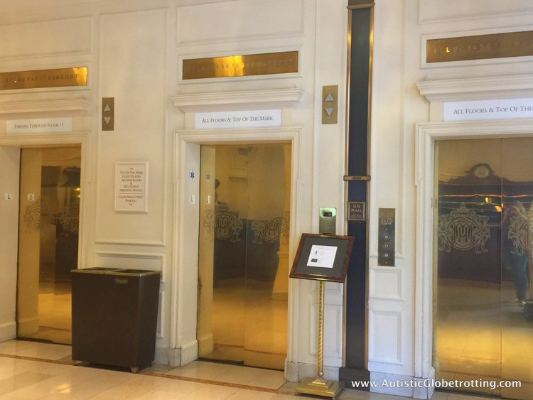 Family Luxury Stay at the Intercontinental Mark Hopkins San Francisco golden elevators