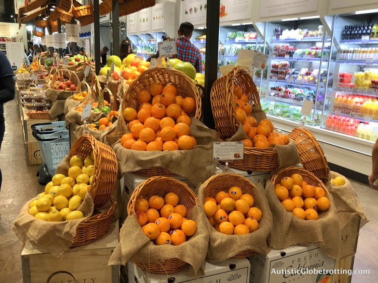 Exploring Eataly in Los Angeles with Autism grocery stall