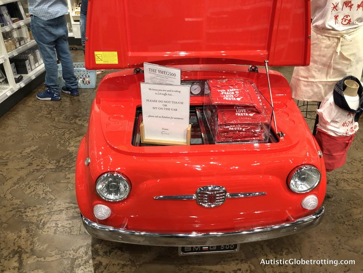 Exploring Eataly in Los Angeles with Autism red car display