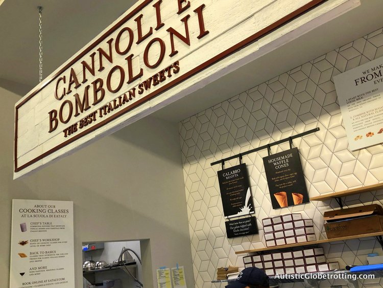 Exploring Eataly in Los Angeles with Autism stuffed donuts