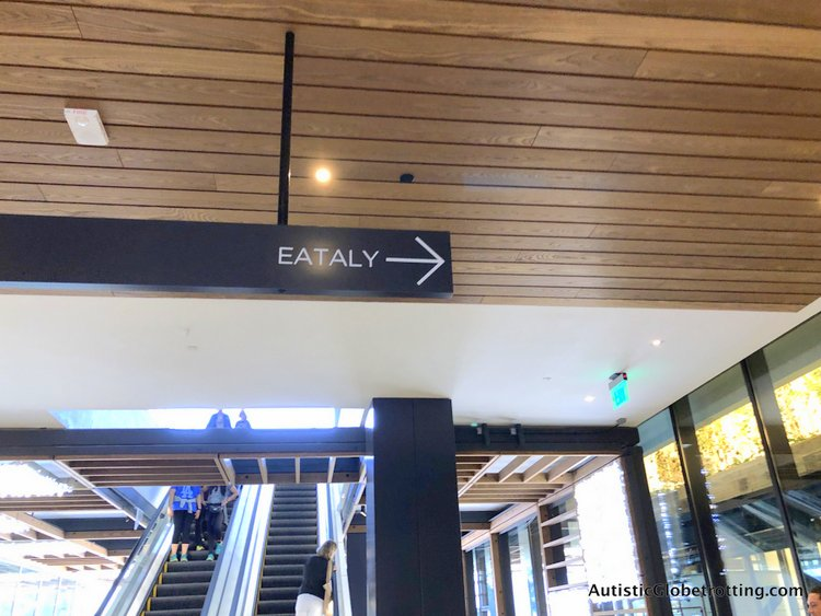 Exploring Eataly in Los Angeles with Autism direction to go to eataly