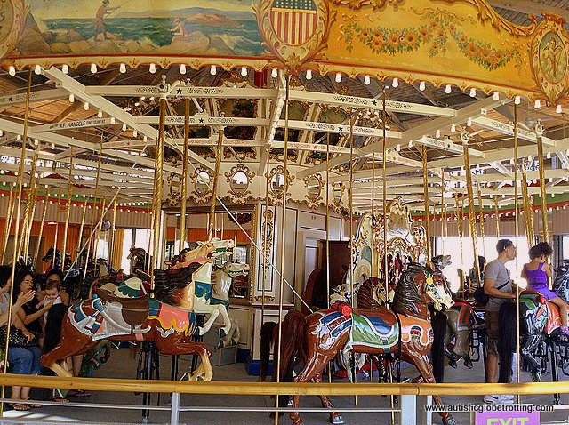 Family Fun on New York's Coney Island carousel