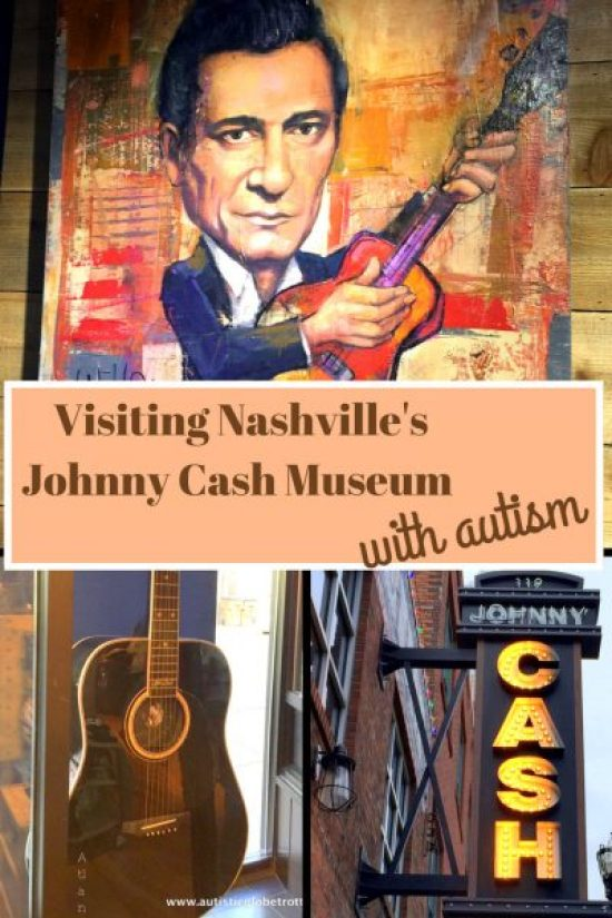 Visiting Nashville's Johnny Cash Museum with Autism pin collage guitar