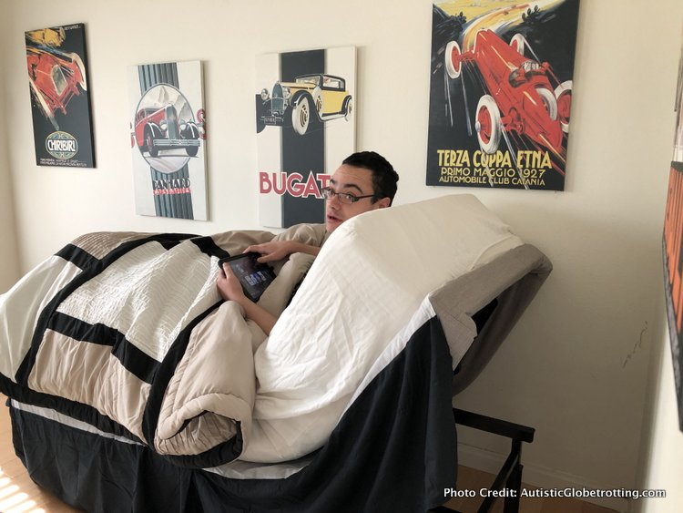autistic son with gerd enjoys bed