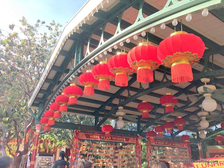 Attending Disneyland's Lunar Year Celebrations with Autism lantern decorations