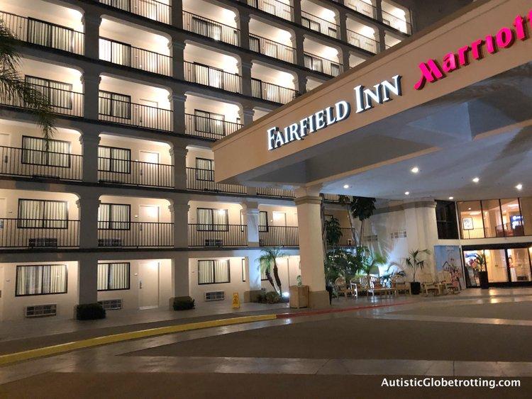 Family Friendly Fairfield Inn Anaheim the hotel entrance