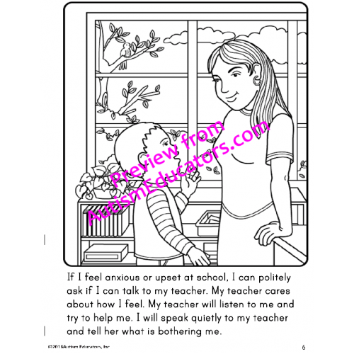 KEEP CALM IN SCHOOL Social Story Coloring Book Positive