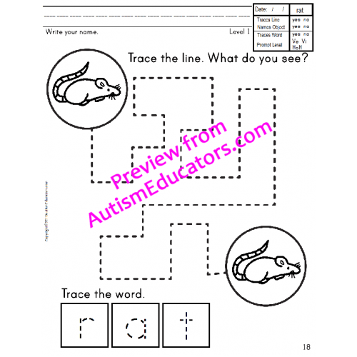 Fine Motor Skills Trace Write and Spell NO PREP Worksheets