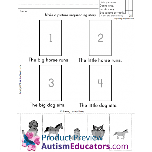 Sight Words Worksheets Sentences with Picture Sequencing