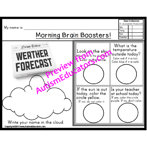 Special Education PRINT and GO Morning Brain Boosters