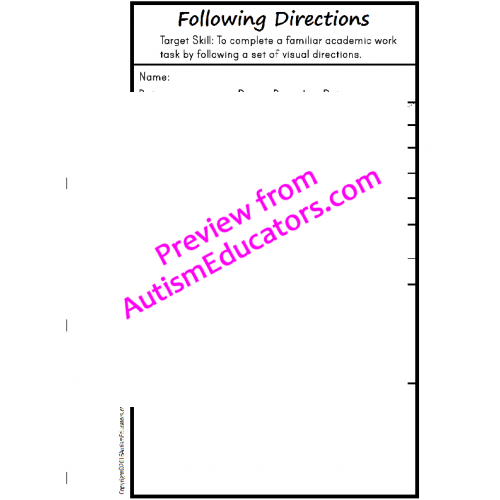 Autism FOLLOWING VISUAL DIRECTIONS Print and Go Worksheets