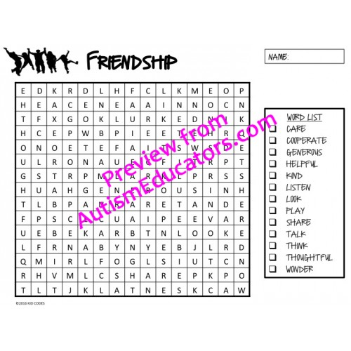 Friendship Word Search {Differentiated Word Searches }