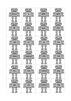 Sight Words, Robot Reading Flash Cards, 100 Words