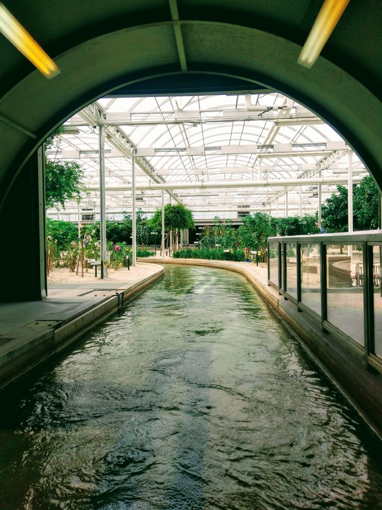 Looking out of a tunnel down a river into a garden