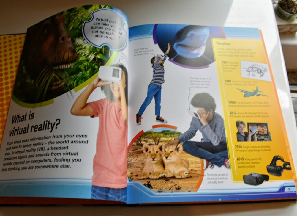 An inside page of the book, All About Virtual Reality. The pages have colourful pictures and easy to read writing.