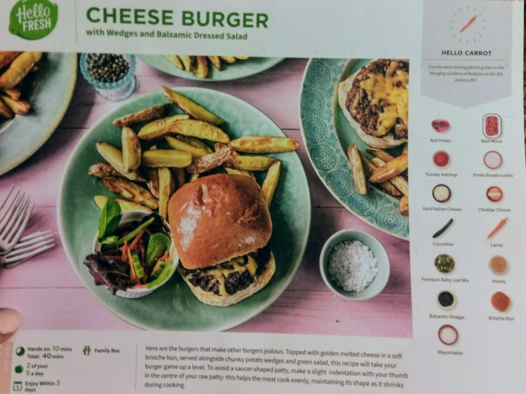 A recipe card with a picture of a burger and wedges