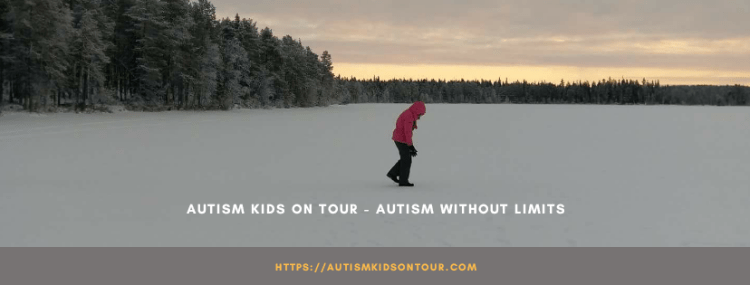A child walking through the snow with the text : Autism Kids On Tour - Autism Without Limits and the web address https://autismkidsontour.com