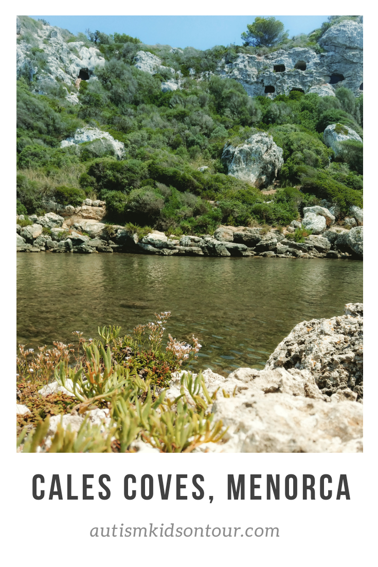 Cales Coves, Menorca, a beautiful cove with ancient burial caves in the cliffs above