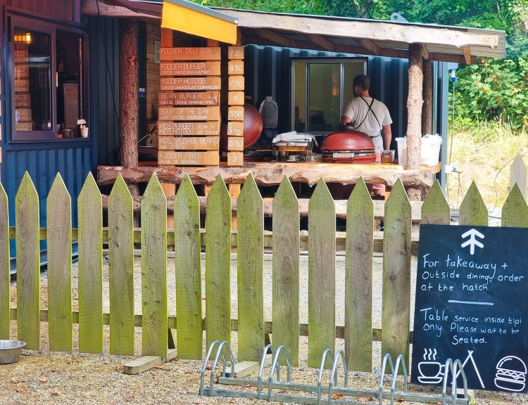 Fodder Cafe, Finnebrogue woods, Northern Ireland. A woodland setting for an outdoor kitchen