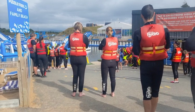 The safety brief at Lets go Hydro inflatable water park in Northern Ireland. Giant inflatables on the lake to play on.