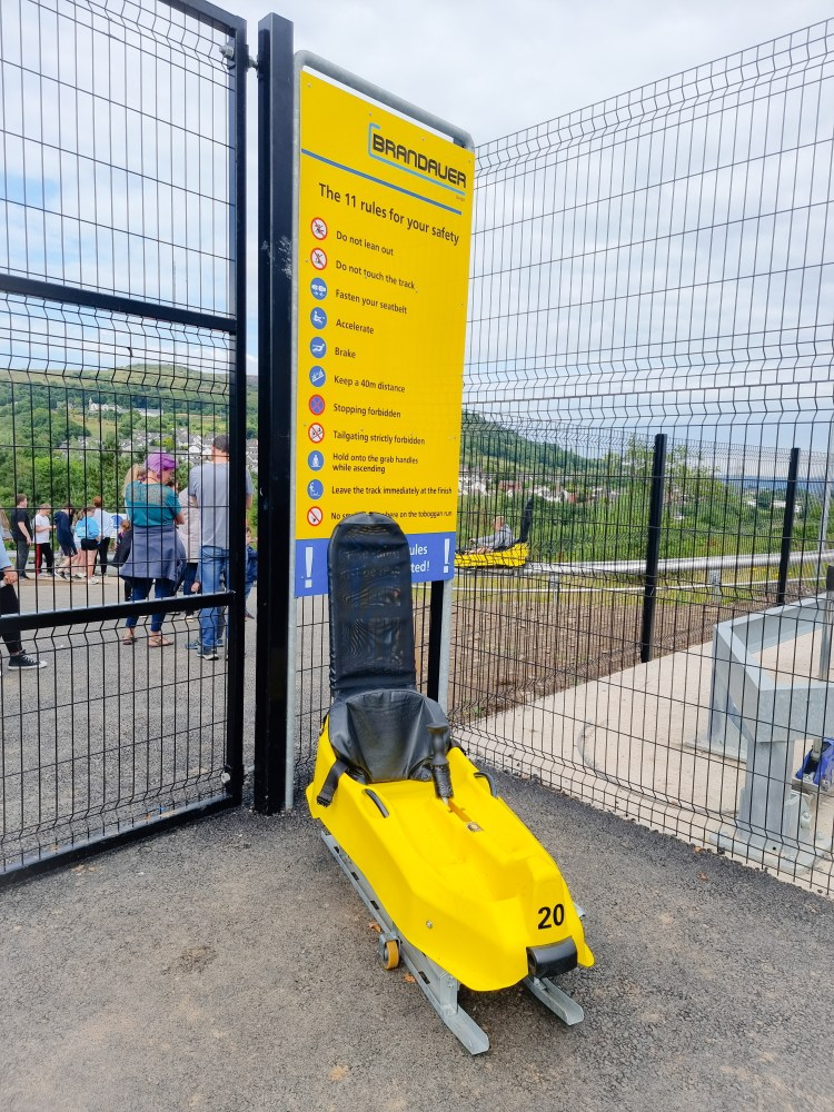 The safety demonstration cart on The Black Bull Run Alpine Coaster  at Colin Glen Mountain Entrance, Northern Ireland