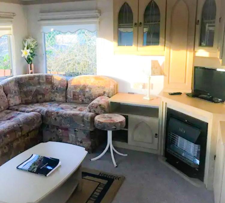 Living room in Robins nest air bnb caravan in Ballyhornan, Northern Ireland