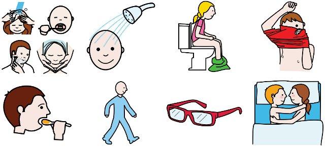 Actividades de la Vida Diaria BásicasAutor pictogramas: Sergio Palao Procedencia: ARASAAC (http://catedu.es/arasaac/) Licencia: CC (BY-NC-SA)