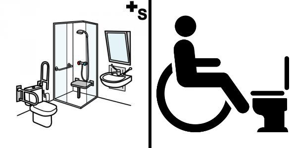PIctograma de baño adaptado de ARASAAC y pictograma de señalética adaptada