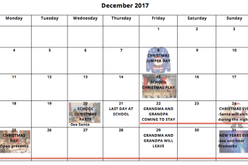 Christmas holiday calendar autism ASD Teacher