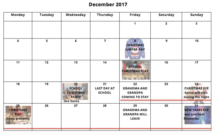 Christmas holiday calendar ASD Teacher