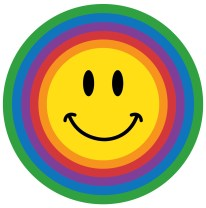 a yellow smiley face inside a round rainbow