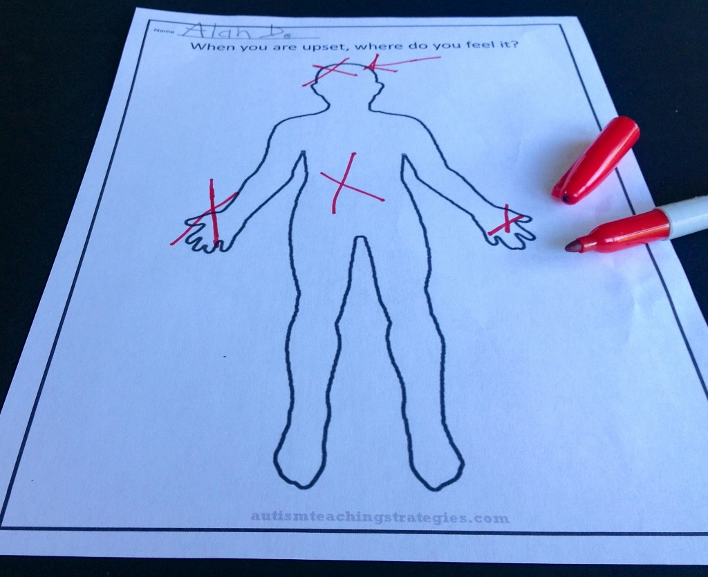 Upset Body Worksheet To Help Kids With Asd