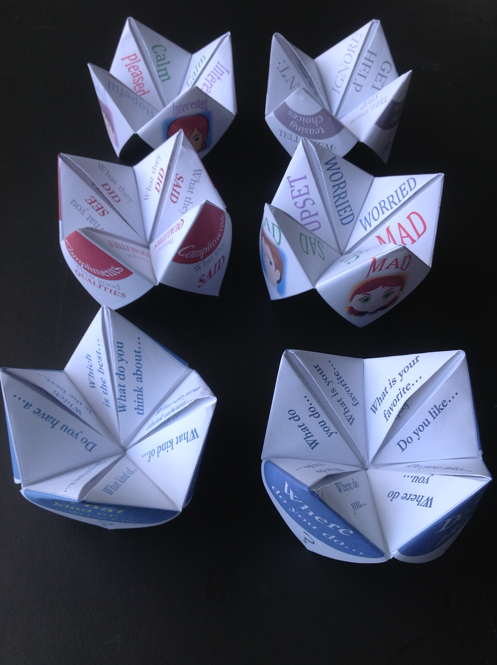 Paper Fortune Tellers Social Skills Games For Children