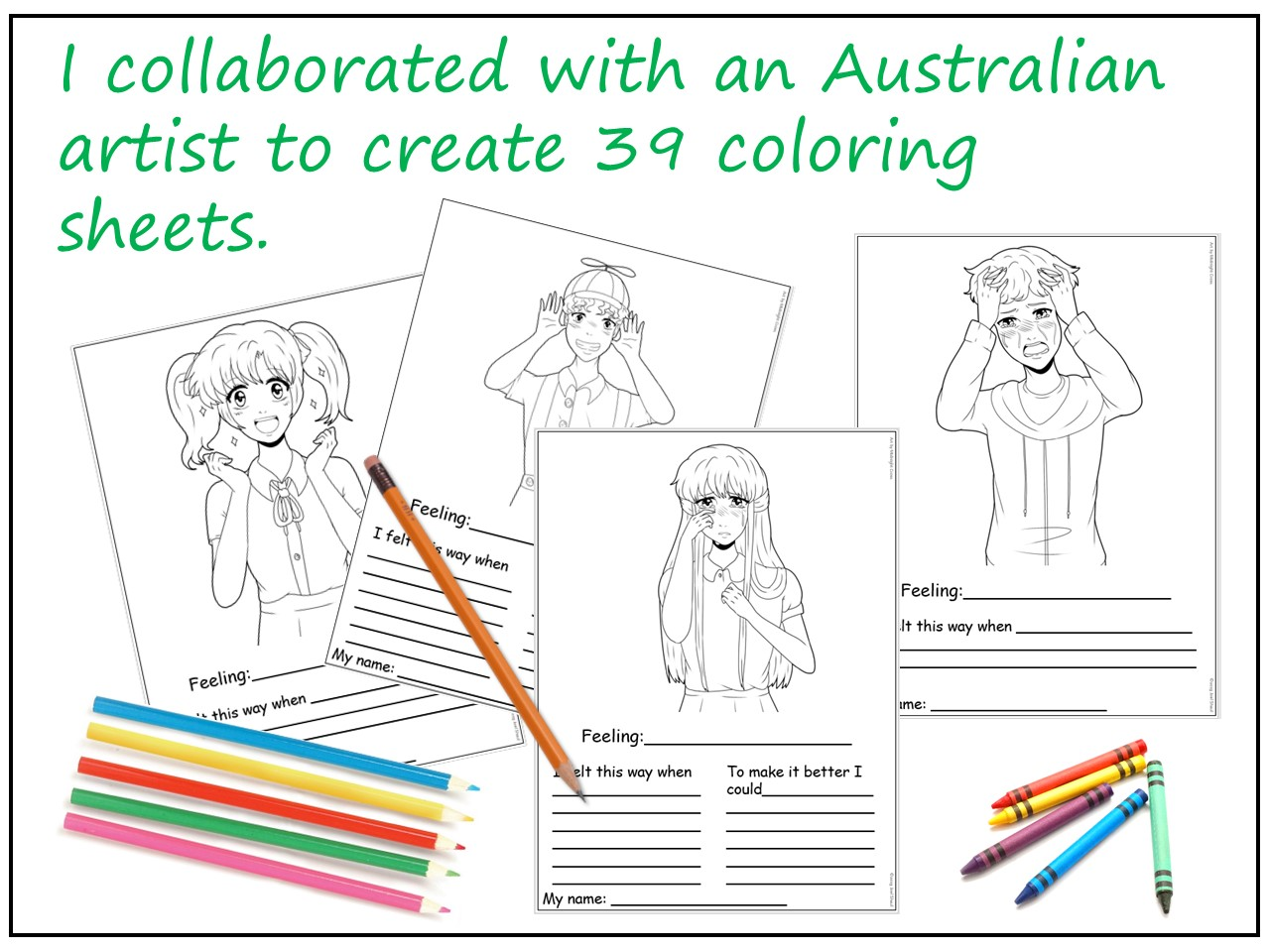 Anime Emotion Coloring Worksheets For Social Emotional
