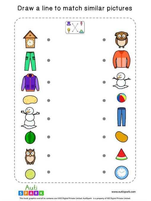 Matching Pictures Free Worksheet #05 – Match Similar Images