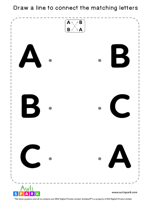 Match Uppercase Letters #01 - Free Matching Worksheet
