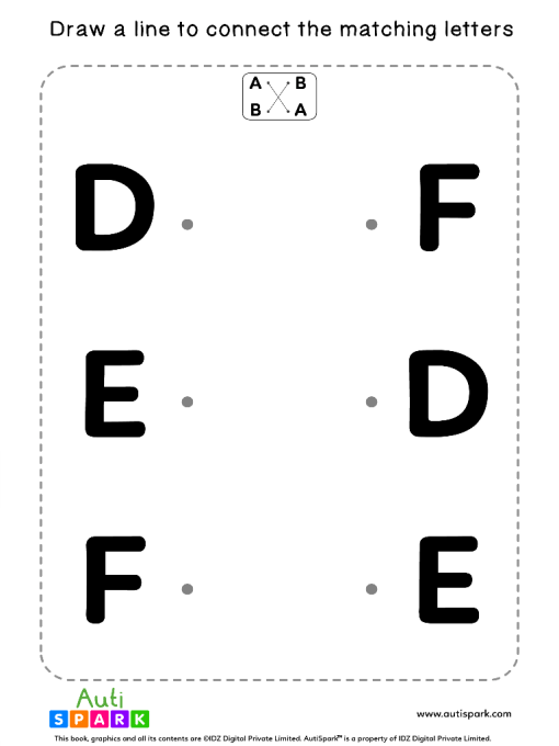 Match Uppercase Letters #02 - Free Matching Worksheet