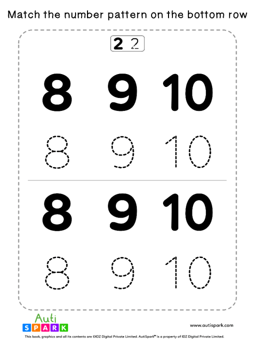 Match Number Patterns Worksheet #13 – Trace the Numbers