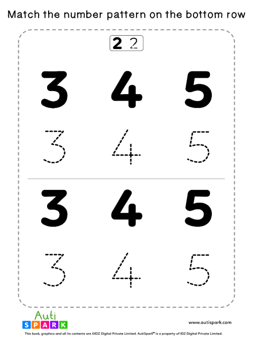Match Number Patterns Worksheet #08 – Trace the Numbers