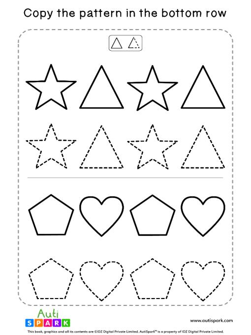 Tracing Shapes Free Worksheet #08 – Match Shape Patterns