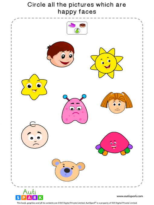 Circle The Happy Faces Worksheet 4