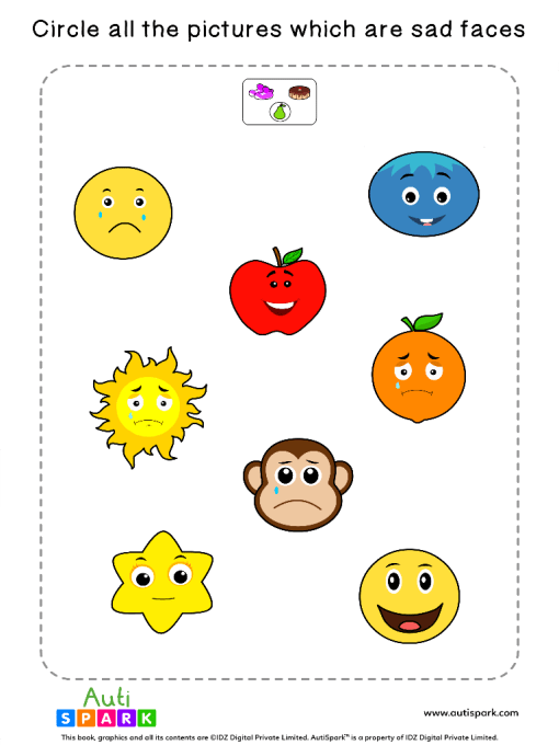 Circle The Sad Faces Worksheet 9