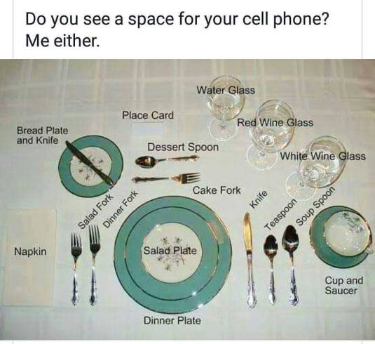 Place Settings & Cell Phones/Tablets