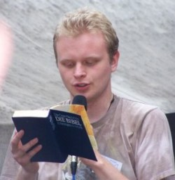 One actual good memory from 2007- me doing the Bible reading in German.