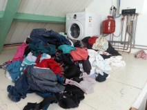 Pile of dirty laundry upstairs
